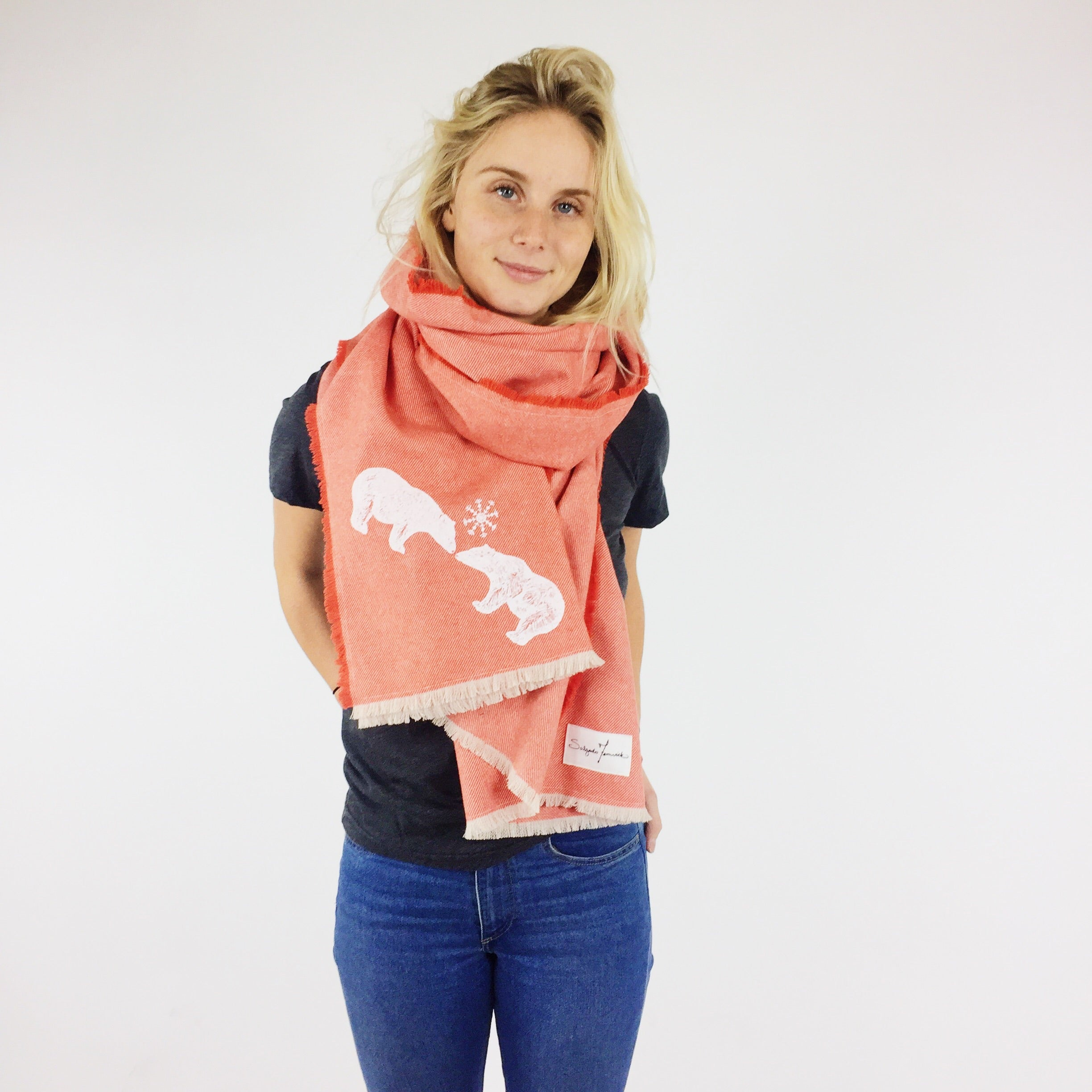 Polar Bear Express Coral Blanket Scarf