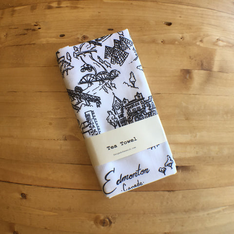 Tea Towel Cotton - Edmonton Map
