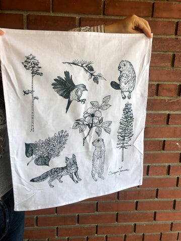 Tea Towel Cotton - Flora and Fauna