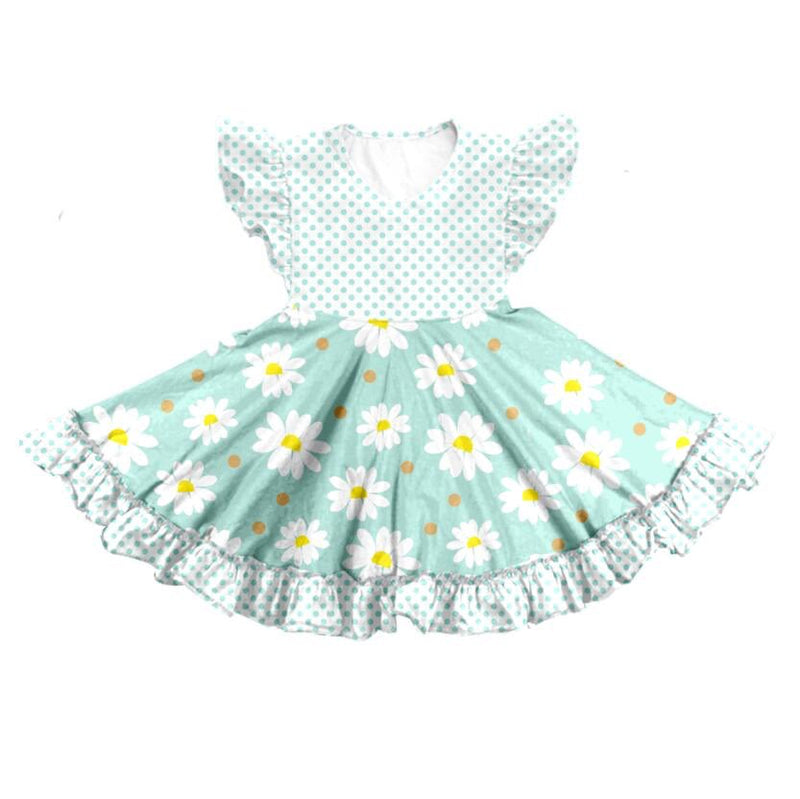 DAISIES TWIRL DRESS - GREEN - PREORDER