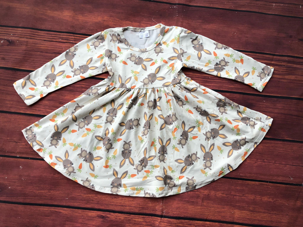 CUTE BUNNY WITH CARROTS TWIRLS DRESS