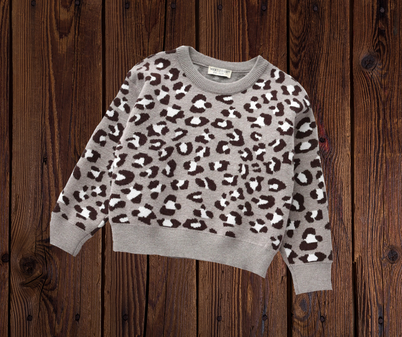 ANIMAL PRINT SWEATER - GREY PRESALE