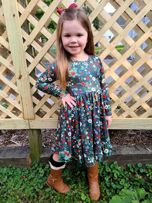 CHRISTMAS FLORALS TWIRL DRESS