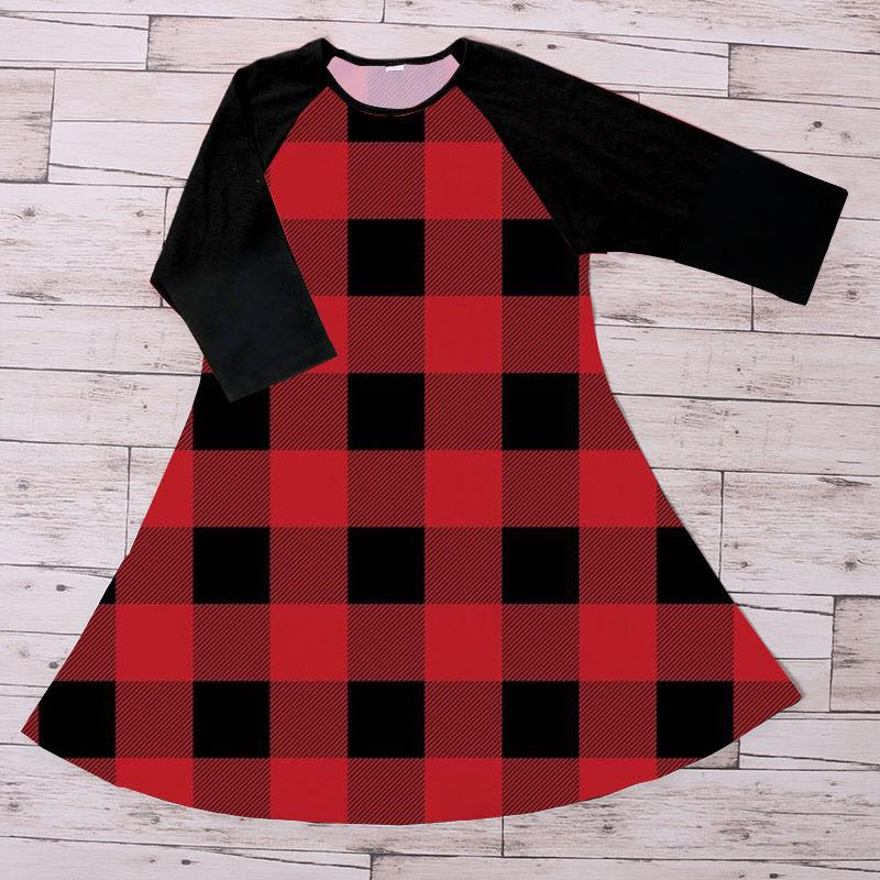 LADIES BUFFALO PLAID DRESS - PREORDER
