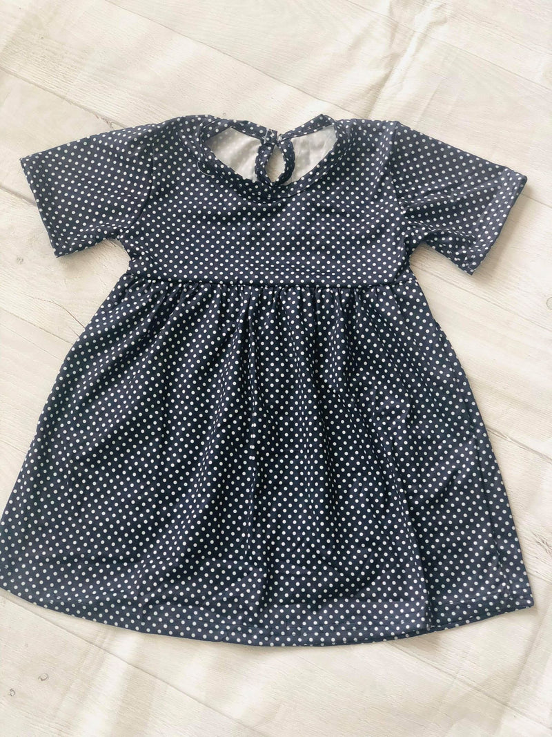 POLKA DOTS MILK SILK DRESS - NAVY BLUE