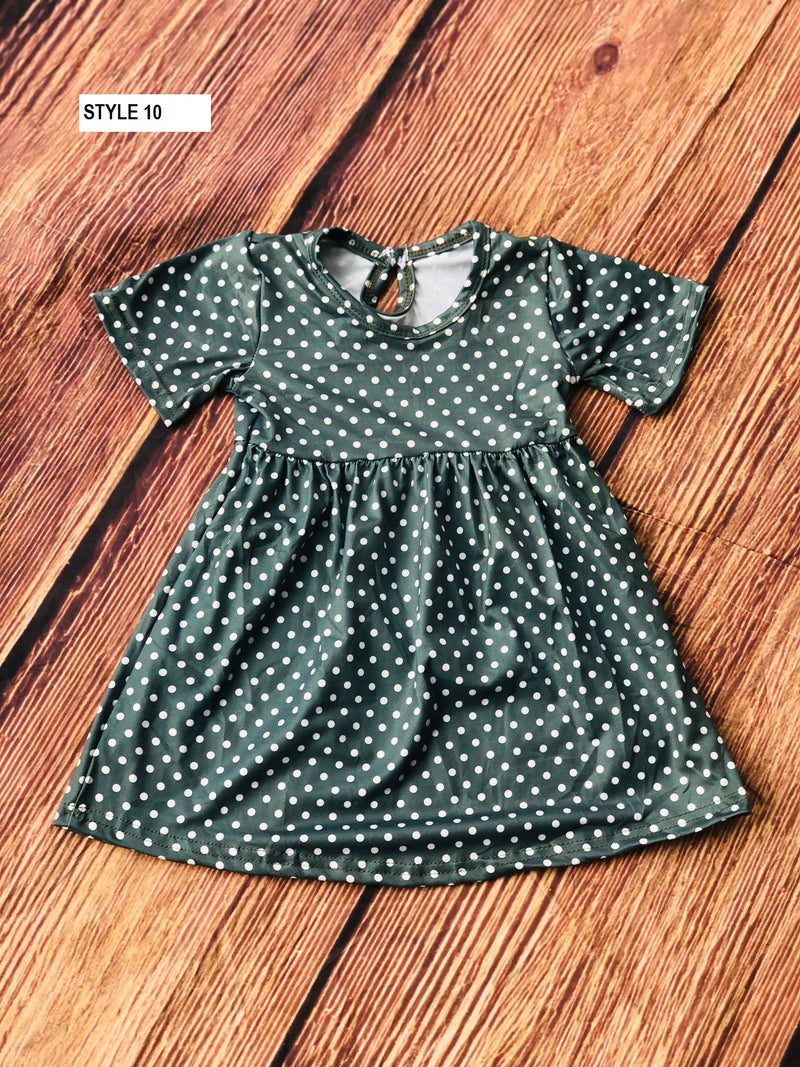 POLKA DOTS MILK SILK DRESS - OLIVE