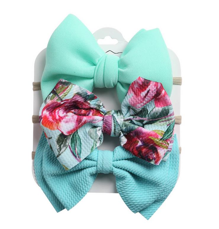MINT FLORAL FLORAL SET OF 3 HEADBAND