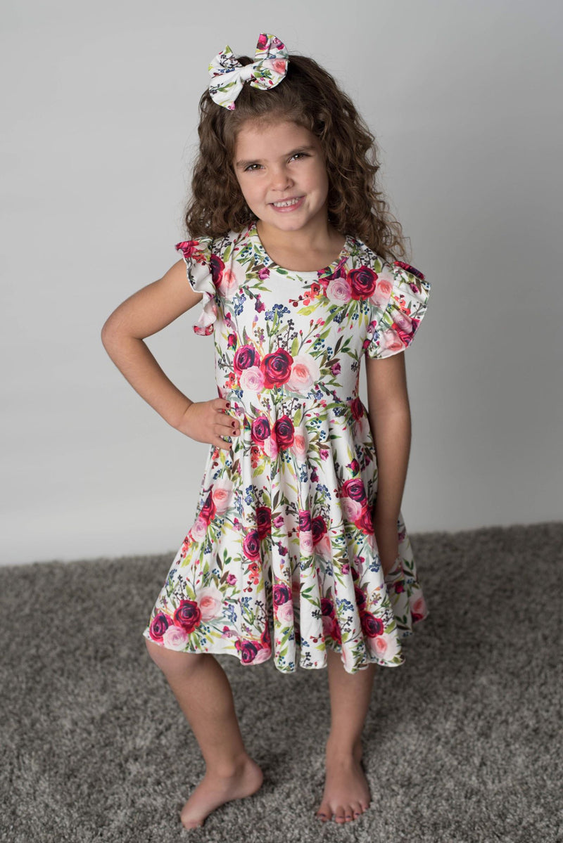 RYLEIGH FLORAL TWIRL & TIE BACK DRESS