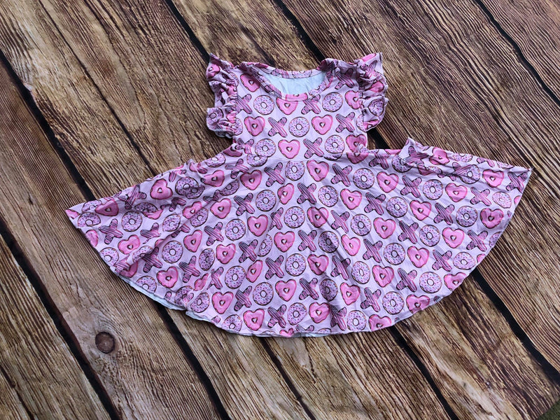 VALENTINES DONUT TWIRL DRESS WITH POCKETS