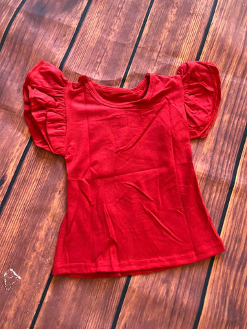 RED FLUTTER TOP