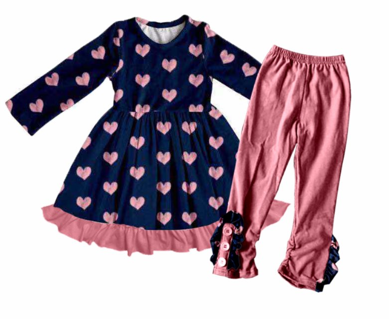HEARTS DRESS & LEGGINGS SET