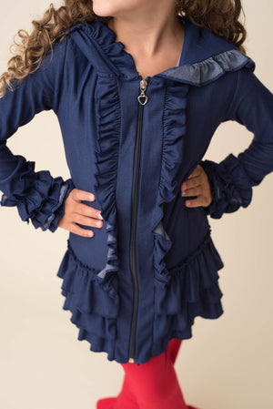 DENIM ZIP RUFFLE JACKET