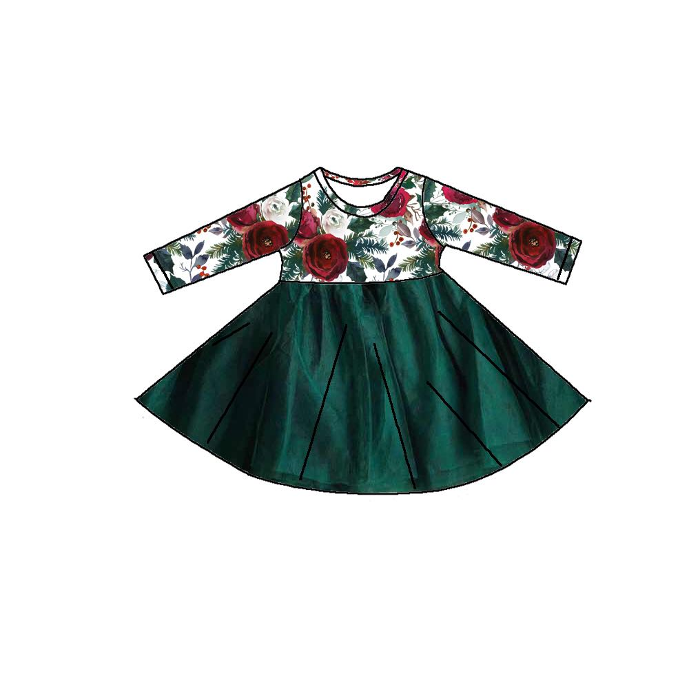 PAIGE CHRISTMAS FLORAL TULLE DRESS