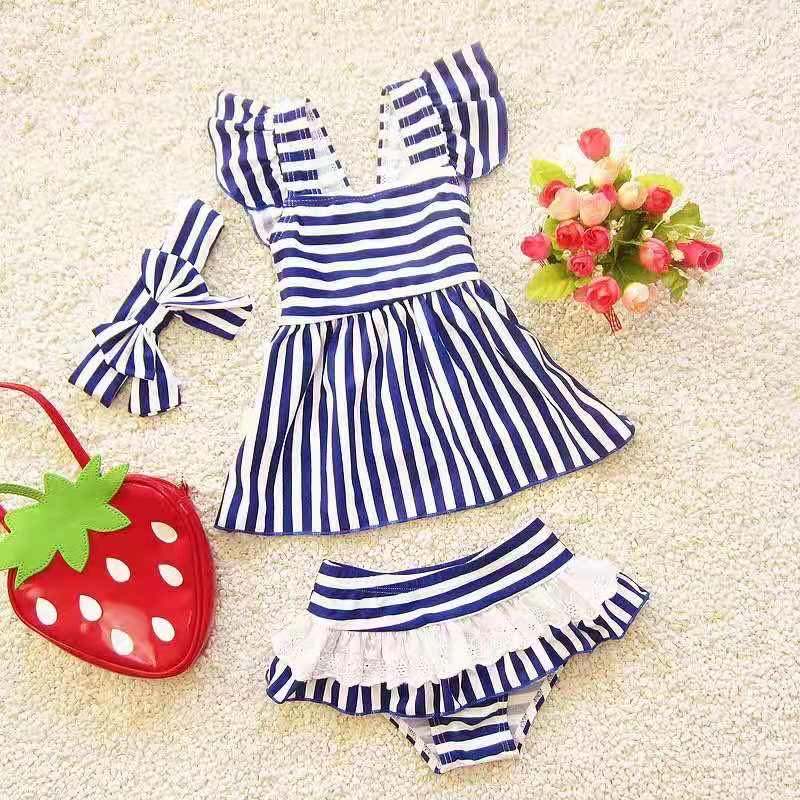BLUE AND WHITE STRIPE SWIMSUIT WITH HEADBAND