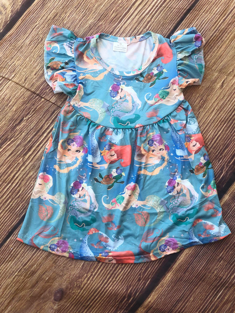 UNDER THE SEA MERMAID MILK SILK DRESS
