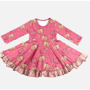 PINK PUMPKIN TWIRLY DRESS
