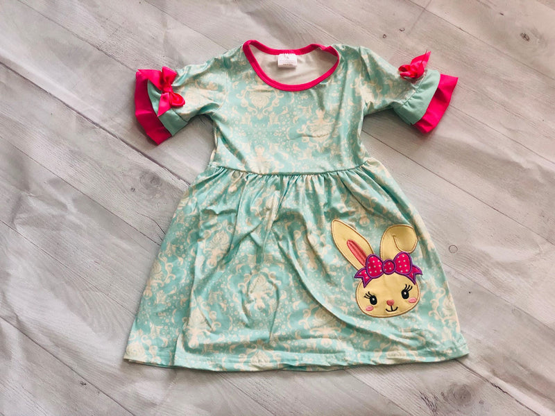 TEAL AND PINK BUNNY MILK SILK DRESS
