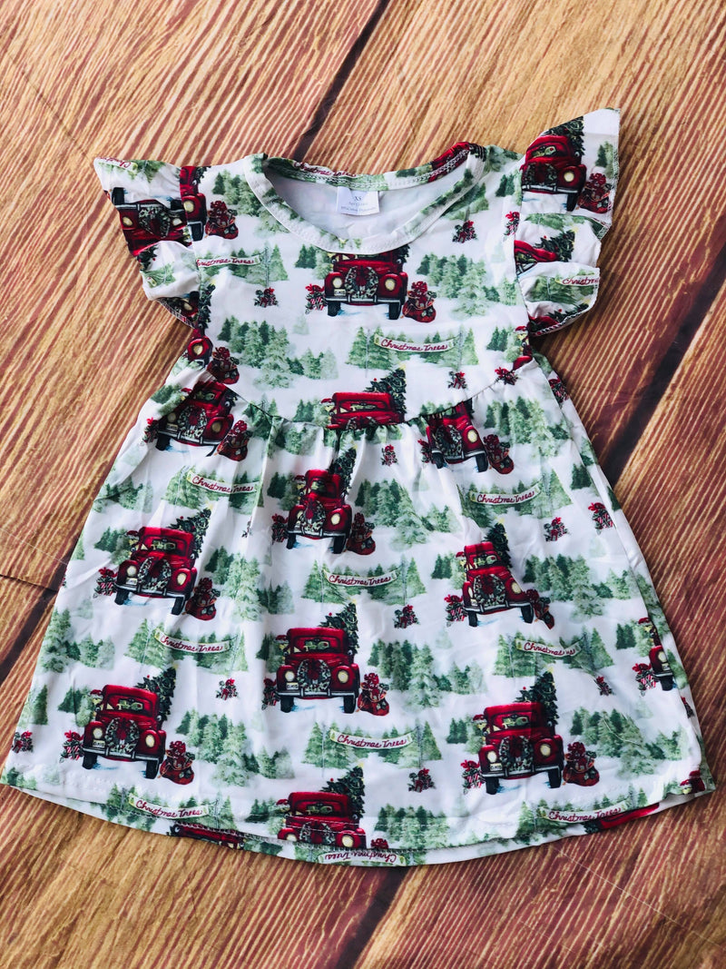 CHRISTMAS TRUCK MILK SILK DRESS