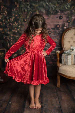 VELVET DRESS  WITH GOLD BOW- RED