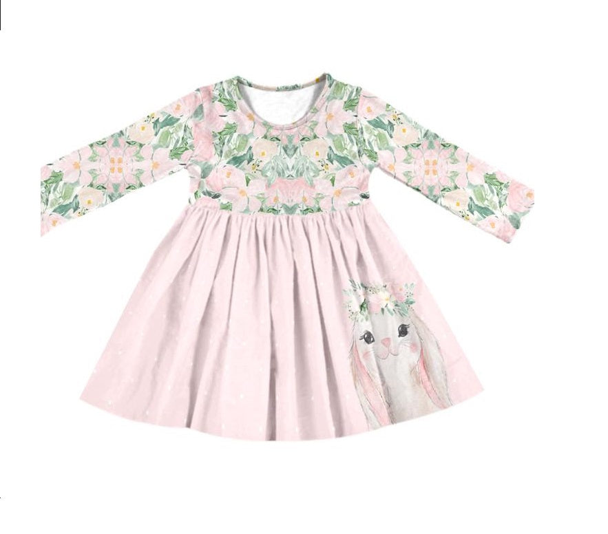 BUNNY FLORAL LONG SLEEVES DRESS - PREORDER