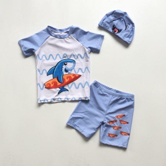 BOYS 3 PC SHARK SWIMSUIT