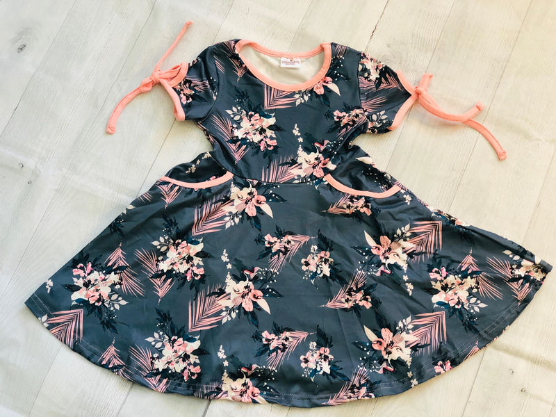 FLORAL MILK SILK DRESS WITH POCKETS