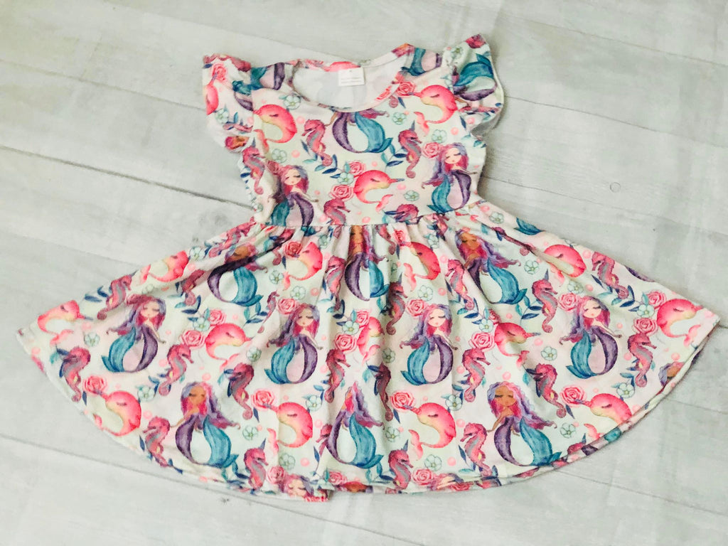 NARWHAL AND MERMAID TWIRL DRESS