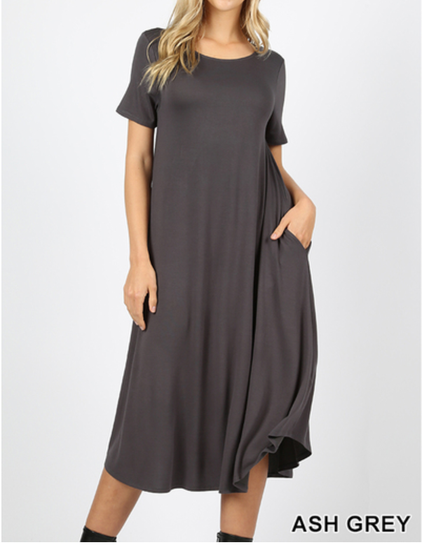 LADIES DRESS WITH SIDE POCKETS - ASH GREY