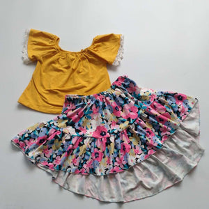 MUSTARD FLORAL TOP AND HI LO SKIRT SET