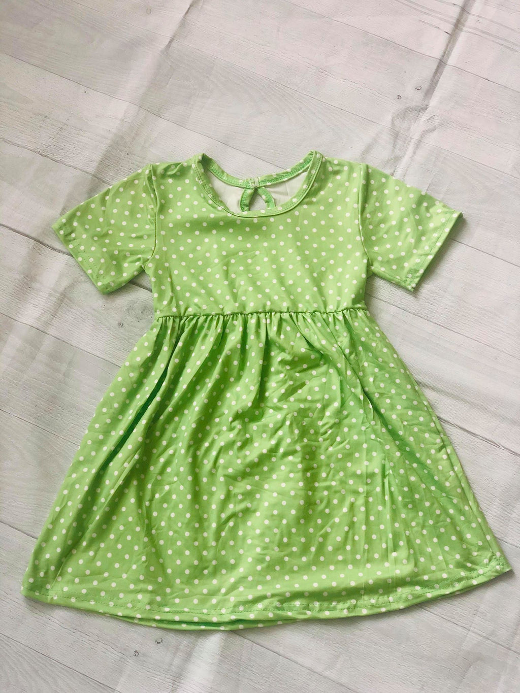 POLKA DOTS MILK SILK DRESS - LIME GREEN