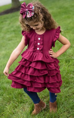RILEY RUFFLE DRESS - WINE