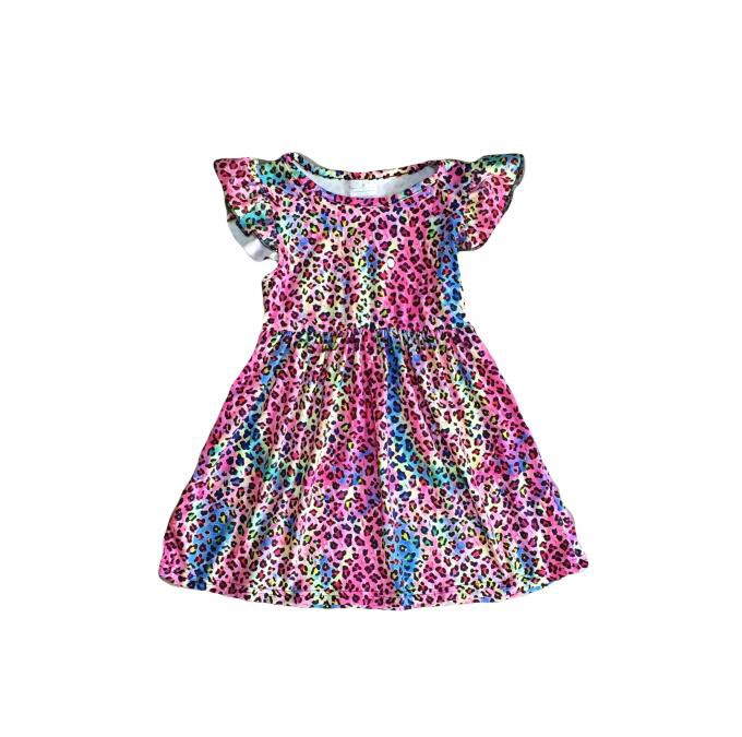 RAINBOW CHEETAH MILK SILK DRESS