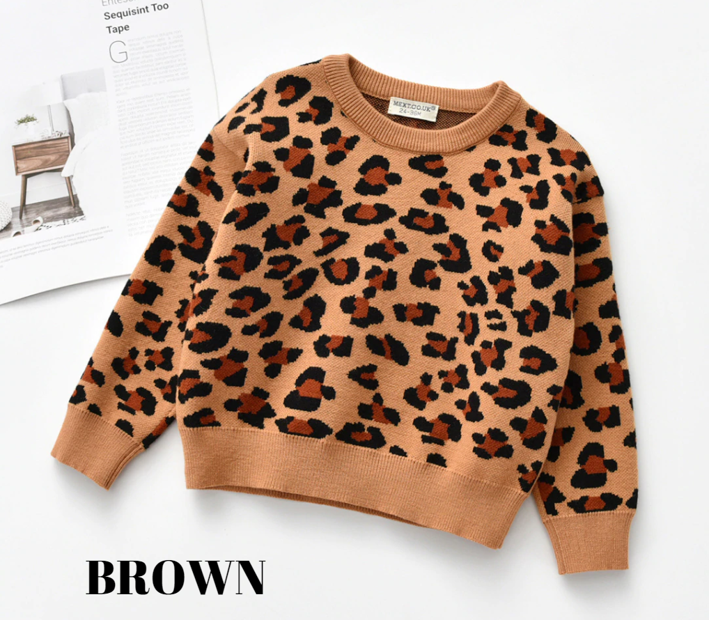 ANIMAL PRINT SWEATER - BROWN