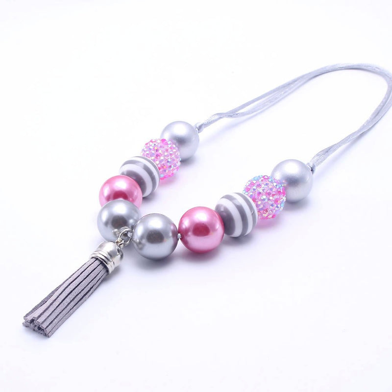 SILVER TASSEL PINK GUMBALL NECKLACE - ADJUSTABLE