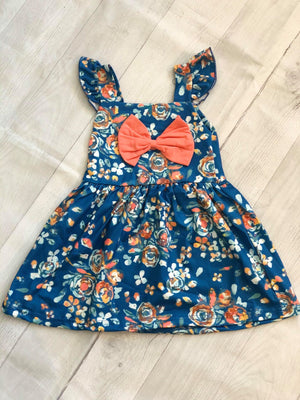 FLORAL MILK SILK DRESS WITH  FRONT BOW