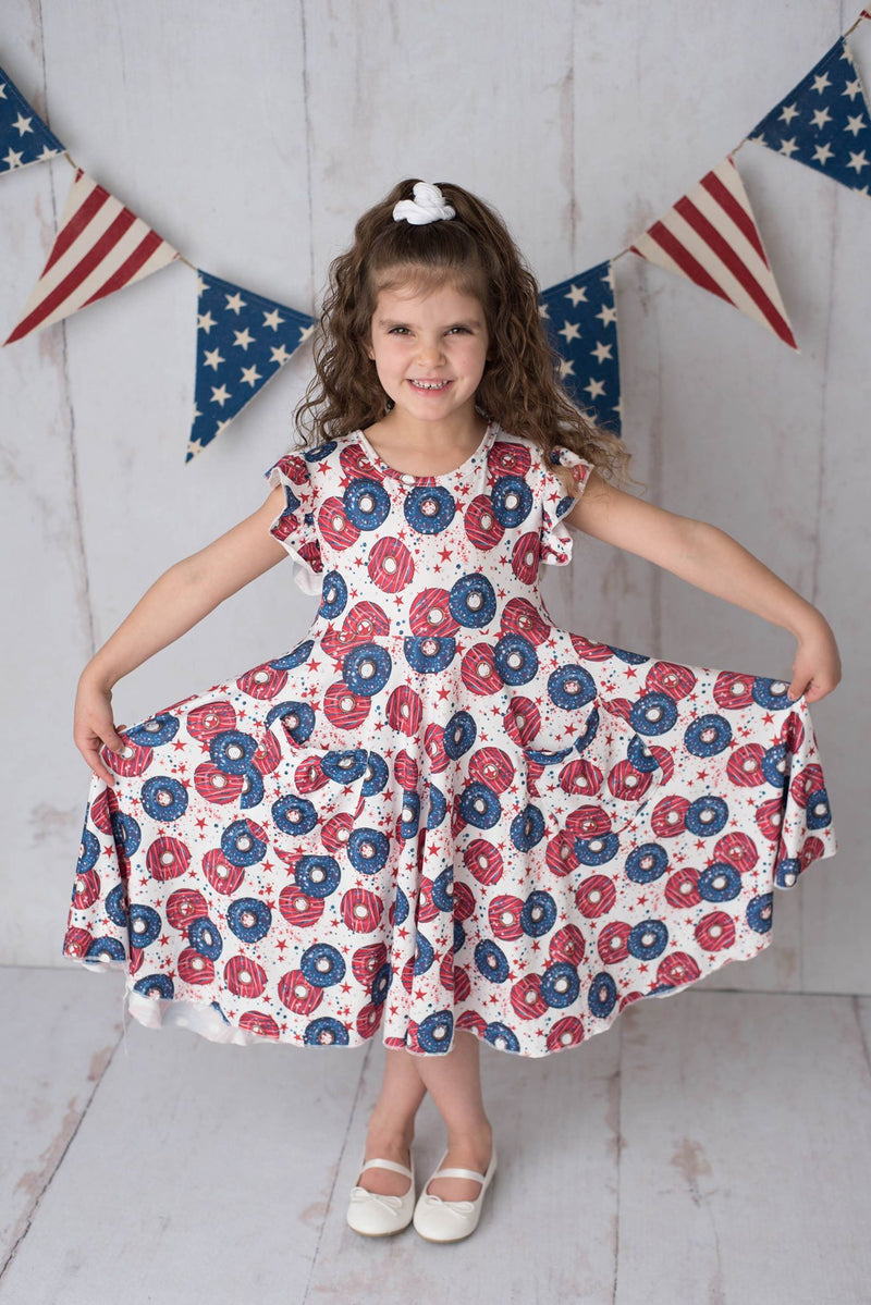 PATRIOTIC DONUTS TWIRL DRESS WITH POCKETS