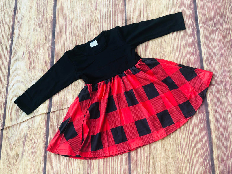 CASSIE BUFFALO PLAID TWIRL DRESS