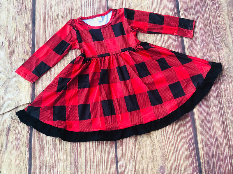 CINDY BUFFALO PLAID TWIRL DRESS