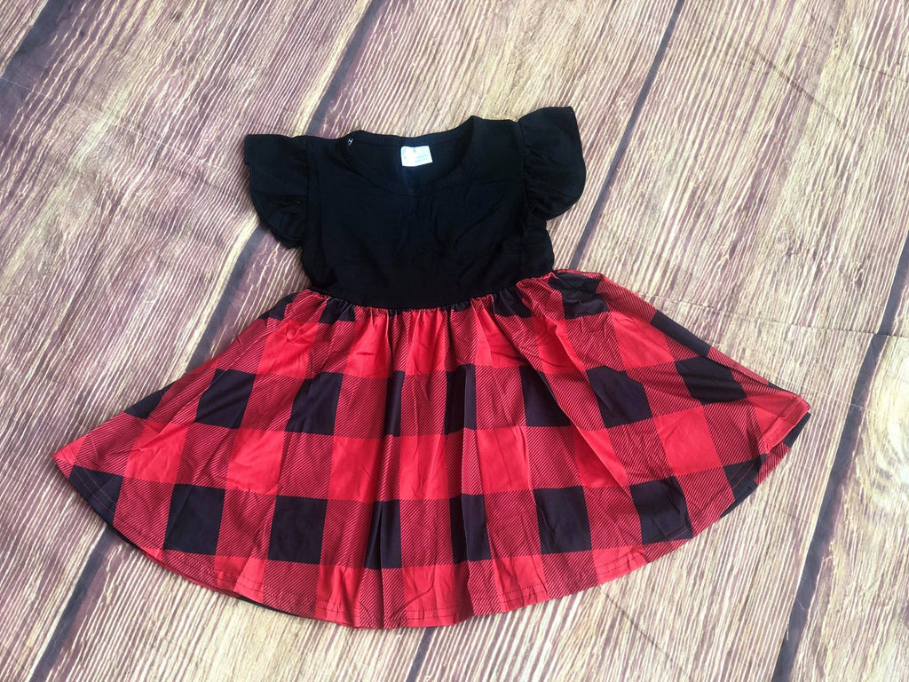 CASSIE BUFFALO PLAID FLUTTER SLEEVES TWIRL DRESS