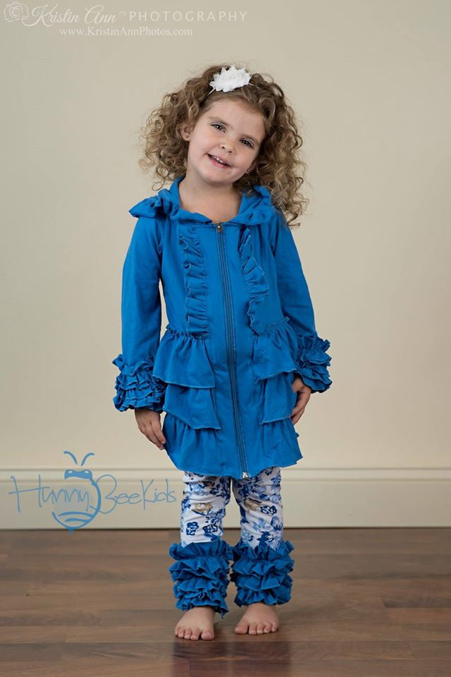 RUFFLE JACKET - CORNFLOWER