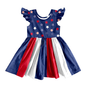 PATRIOTIC STAR TWIRLY DRESS  - PREORDER - BLUE