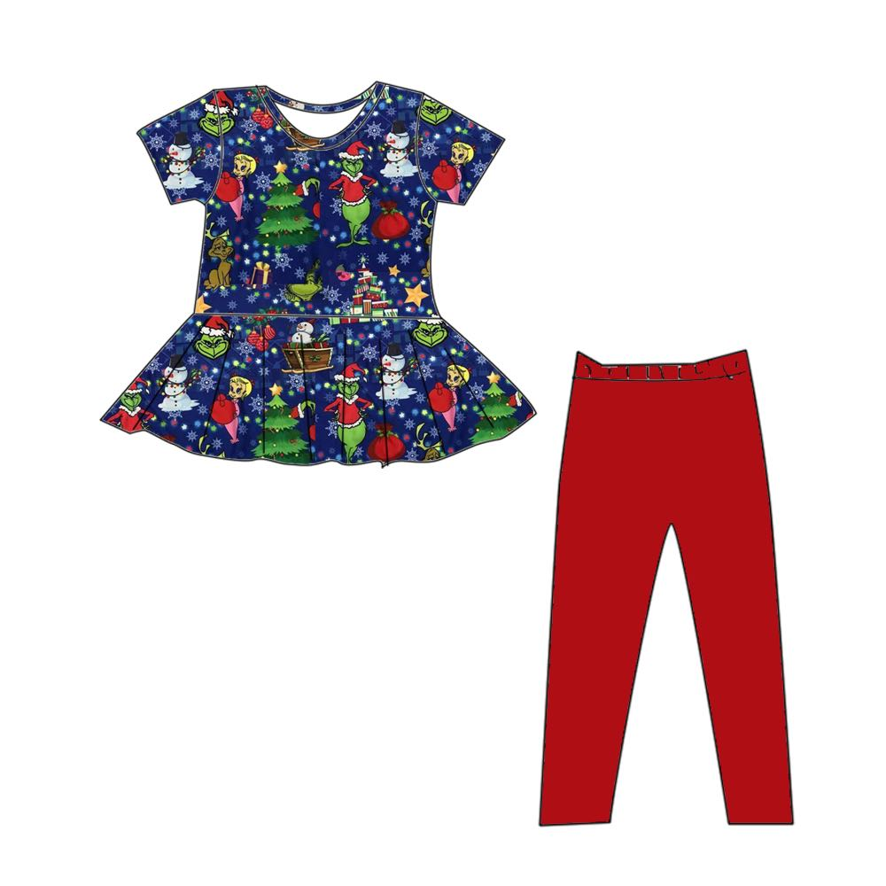 GRINCH INSPIRED PEPLUM SET SHORT SLEEVES PREORDER