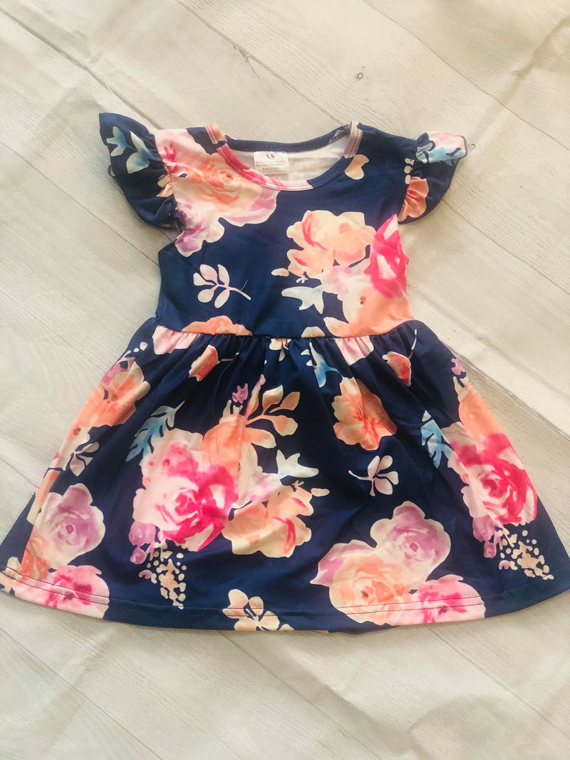 NAVY FLORAL MILK SILK DRESS