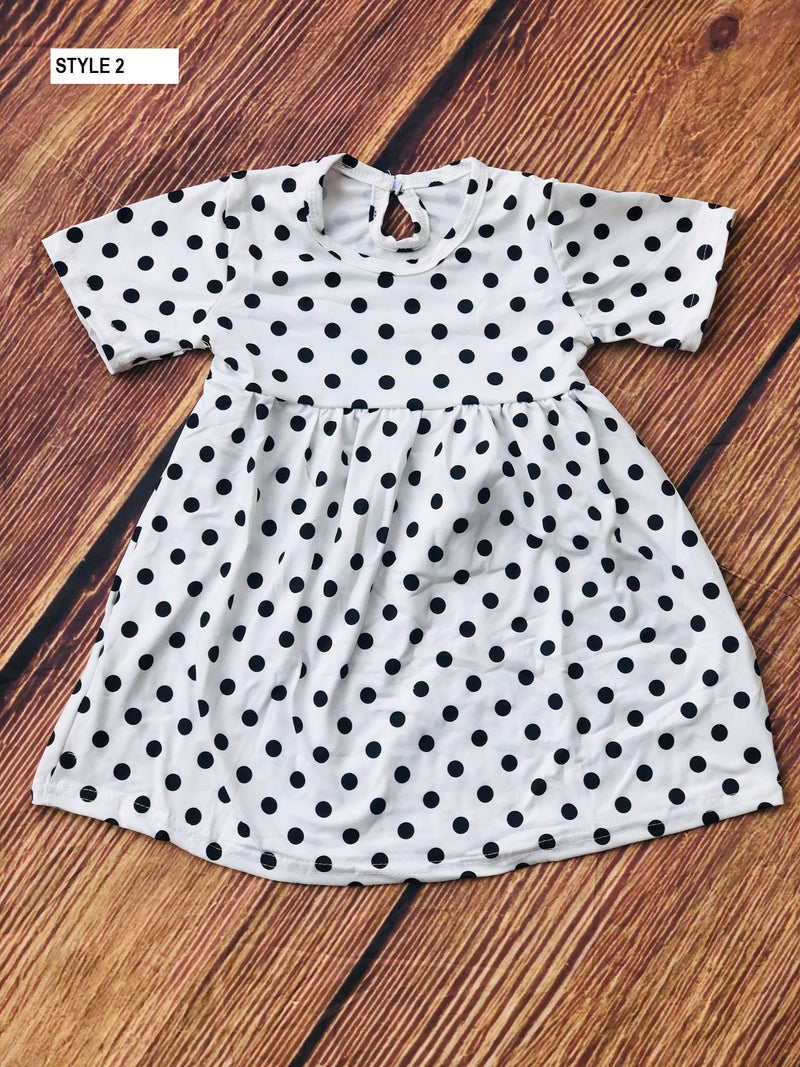 POLKA DOTS MILK SILK DRESS - wHITE/BLACK