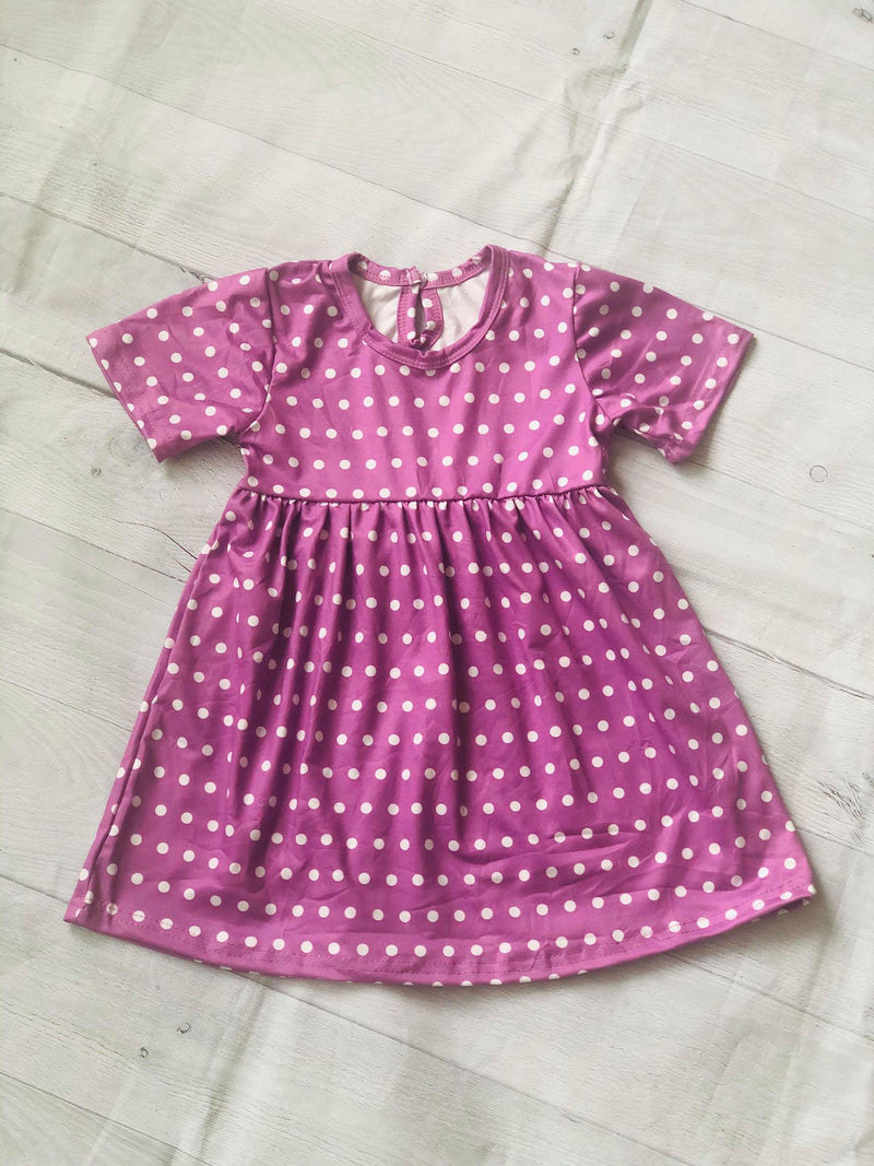 POLKA DOTS MILK SILK DRESS - PURPLE