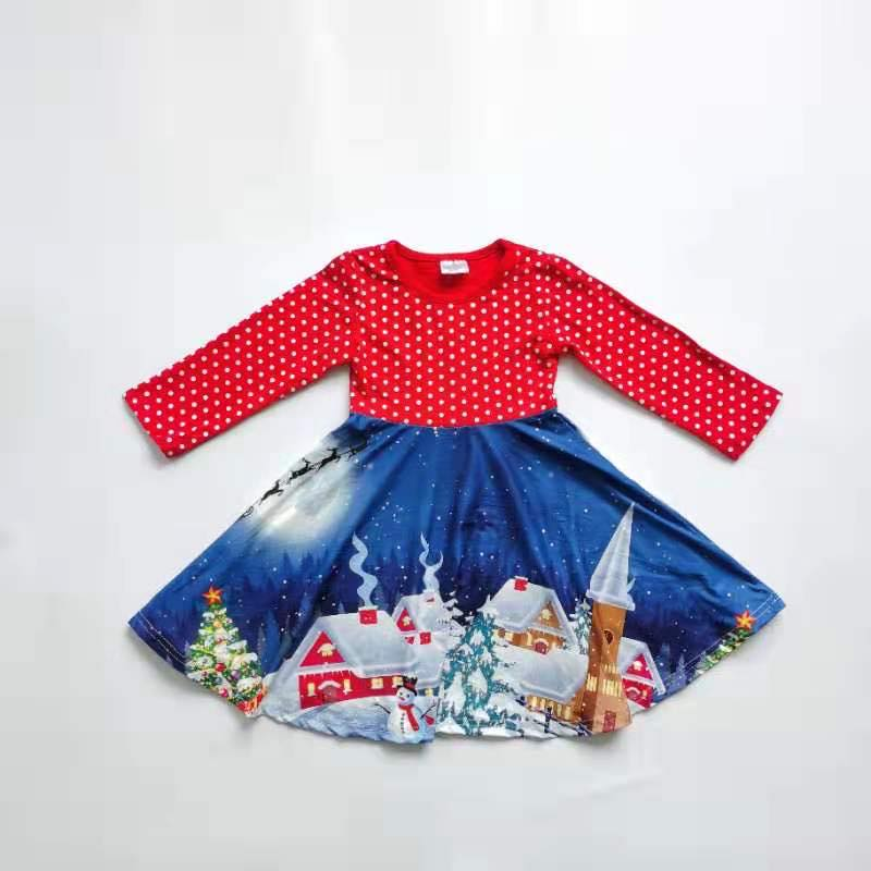 CHRISTMAS SCENERY TWIRLY DRESS