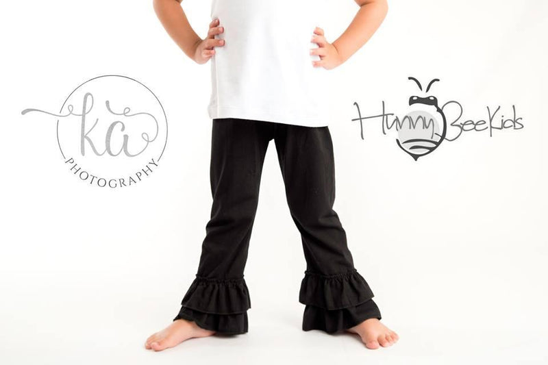RUFFLE PANTS - BLACK