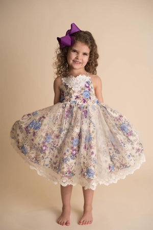 ANNABELLE FLORAL LACE DRESS - PURPLE
