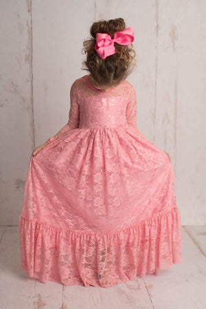 LACE MAXI DRESS - ROSE PINK