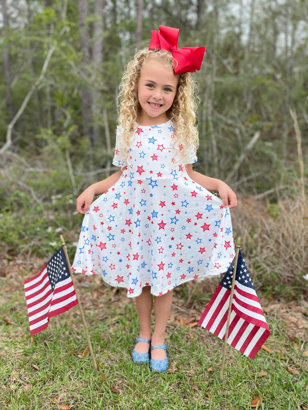 PATRIOTIC STAR TWIRL DRESS - WHITE